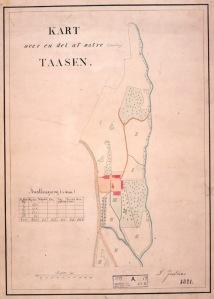 Kart over Søndre Tåsen