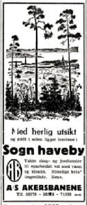 Annonse i Aftenposten 1935.