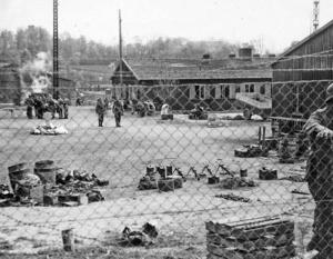 Karen Kolby fotograferte begivenheten da norske tropper overtok SS-leiren i 1945. Foto: Sogn kultur- og historielags billedbase.