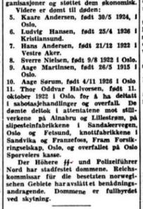 Aftenposten 9. februar 1945, med kunngjøring av dødsdommene over sju hagebygutter fra Pelle-gruppa. Samtidig ble to andre med Milorg-tilknytning dømt og henrettet.